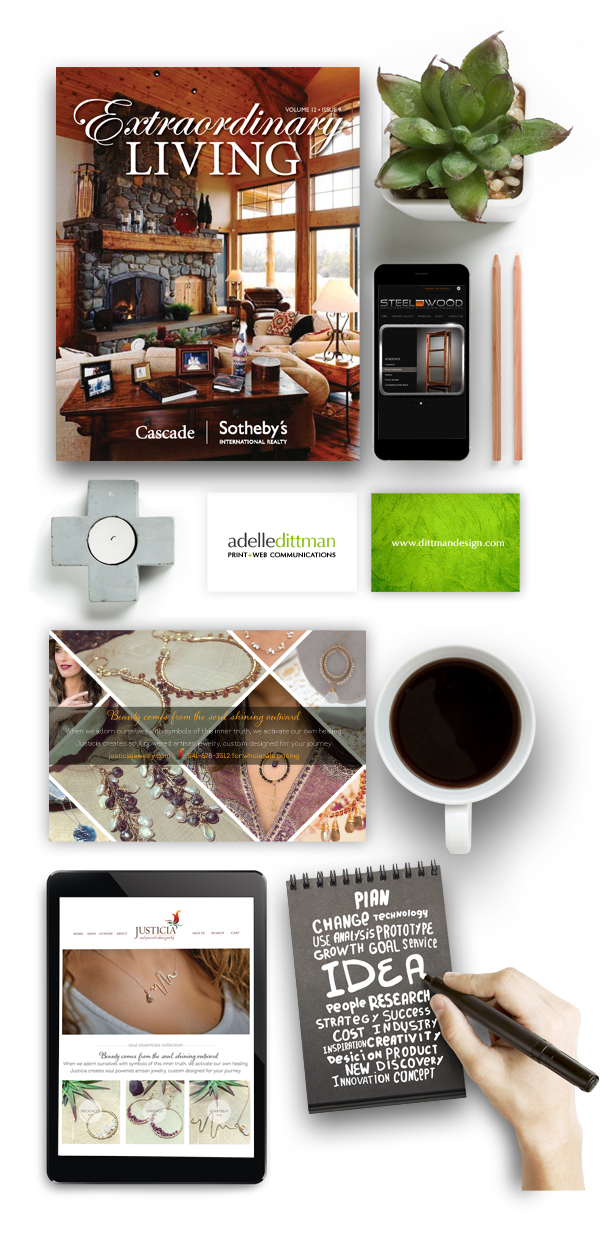 Bend, Oregon Graphic Designer specializing in magazine and publication design, logo and brand identities and more